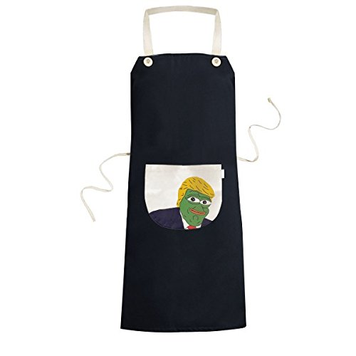 America American President Sad Frog Trump Funny Ridiculous Spoof Meme Image Cooking Kitchen Black Bib Aprons with Pocket for Women Men Chef Gifts