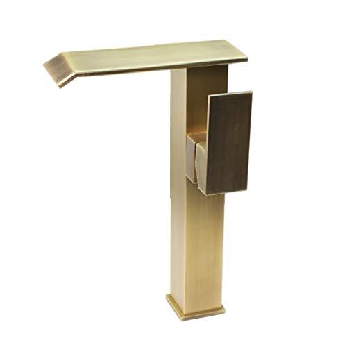 Golden Messing Waschbecken Wasserhahn Waschtischarmatur Hoch FüR Bad Mischbatterie Homelody Faucet Retro KüChenwasserhahn