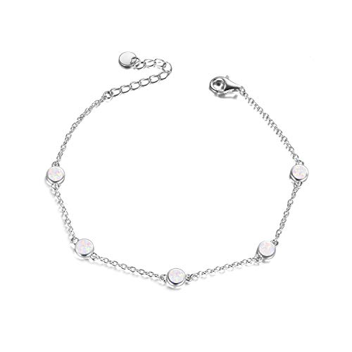 Angel caller Fußkettchen Silber, Opal Fußkettchen Silber 925 Damen Opal für Frauen Schmuck verstellbare 11Zoll 28 mm (Weiß opal Fußkettchen)