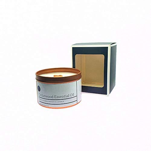 Vela perfumada con aceite esencial de madera de cedro. Vela altamente perfumada hecha en lata de oro rosa con cera de vela premium y aceites aromáticos.
