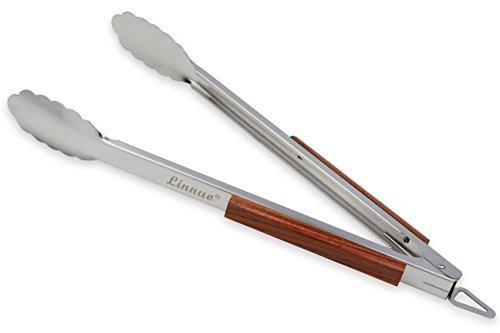 Linnuo Grillzange Edelstahl Holz Griff 45cm, XXL Grillzange Küchenzange Zange aus hochwertigem Edelstahl und echtem Holz, ideal für Grillen Kochen Servieren, 45 x 5 x 5cm (XL Grillzange)