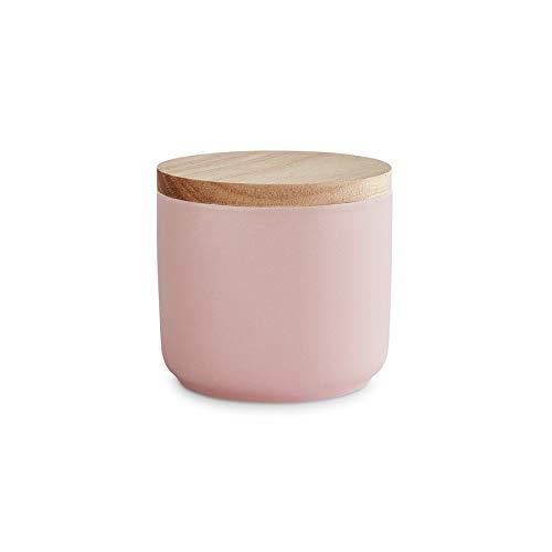 Keramik Vorratsdosen mit Holzdeckel Sweet Scandi, luftdichter Kautschukholz-Deckel, Aufbewahrungsdosen, Frischhaltedosen - 1x Rosa: 10x9cm