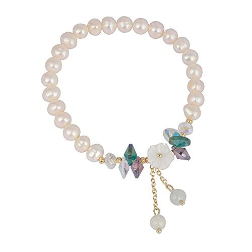 HAHADONG Fancy Diamond White Flower Perla de Agua Dulce Pulsera para niñas Accesorios para Colgantes Pulsera con Cuentas-A