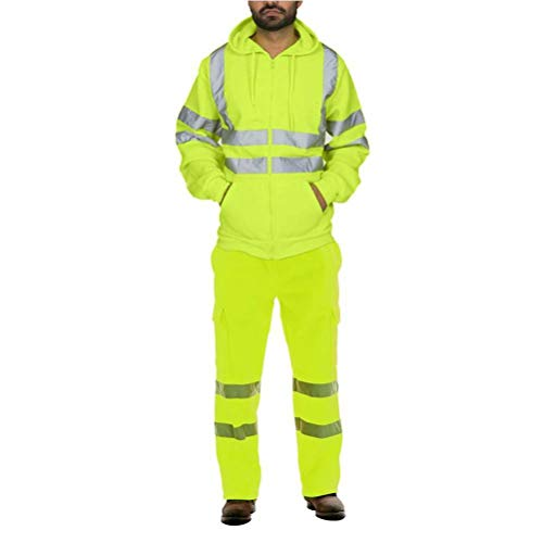 JUSTTIME Herenpak Sanitatiewerkers Reflecterende Overalls Fleece Koud Warm pak Heren Jas XXL Groen