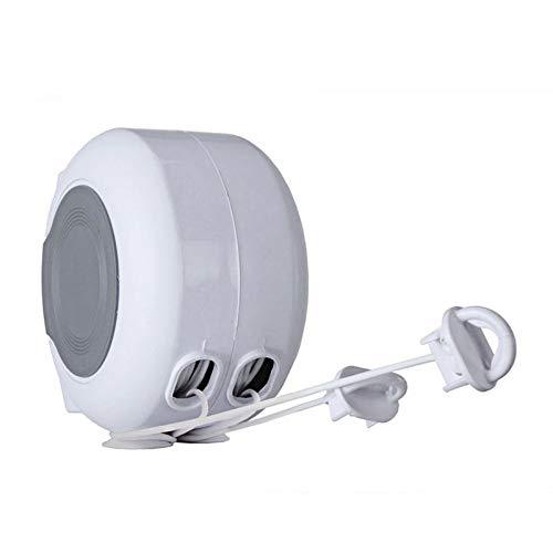 Línea de lavado retráctil doble, tendedero de carrete extensible para secadora de ropa resistente montada en la pared para interiores y exteriores (cuerda doble 2 x 13 m)-26m