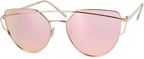 styleBREAKER Sonnenbrille mit Katzenaugen Cat Eye Gläsern und Doppelrahmen Bügel, Federscharnier, Damen 09020069, Farbe:Gestell Gold/Glas Pink verspiegelt