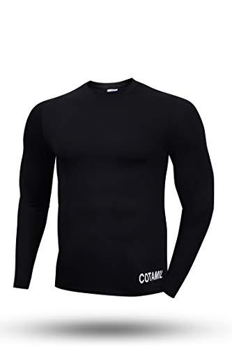 Kounga Hombre Camiseta Térmica De Ciclismo De Manga Larga Cotamil, Black, L
