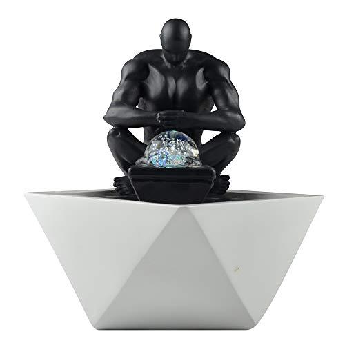 Zen'Light SCFR19-C12 Zimmerbrunnen, Polyresin, schwarz und weiß, 17 x 17 x 24 cm