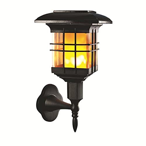 Solar-Wandlaternen, 12 LEDs Outdoor-Wandleuchte Flammen-Wandleuchte Beleuchtung Dämmerung bis Dämmerung mit Auto On/Off, dekoratives Solar-LED-Licht für Veranda(Size:An der Wand montiert)