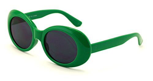 V.W.E. Vintage Sunglasses UV400 Bold Retro Oval Mod Thick Frame Sunglasses Clout Goggles with Dark Round Lens (Green)