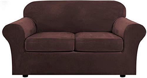 Mazu Homee Juego de 3 sofás telescópicos de terciopelo real, puede acomodar 2 alfombrillas suaves (cubierta inferior más 2 almohadillas blandas), posición gruesa y suave (sofá grande, marrón gris).