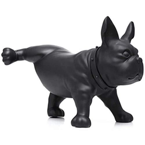 SKER Animal Dog Sculpture French Bulldog Ornaments Simulation Home Window Display Modern Gardening Peeing Style,Black