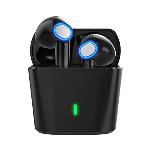 Delaspe Auriculares Bluetooth TWS 5.0 Auriculares Semi-in-Ear Auriculares de Juego con Control táctil estéreo Dual de Espera ultralarga para iPhone Android