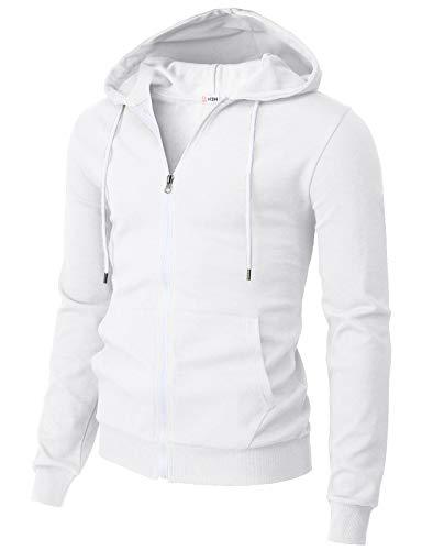 H2H Mens Casual Basic Long Sleeve Zip Up Hoodie Jacket White US L/Asia XL (CMOHOL048)