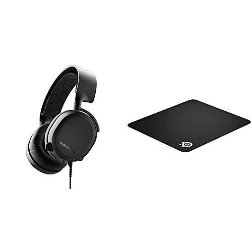SteelSeries Arctis 3 (All-Platform Gaming Headset) schwarz & QcK+ - Gaming-Mauspad - 450mm x 400mm x 2mm - Stoff - Gummiunterseite - Schwarz