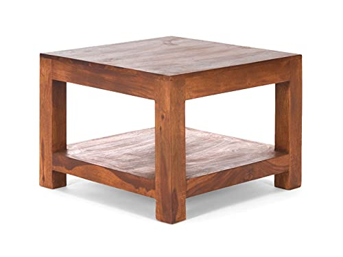 Woodkings® Couchtisch Country 60x60 Massivholz Palisander Echtholz rustikal Wohnzimmer Beistelltisch quadratisch