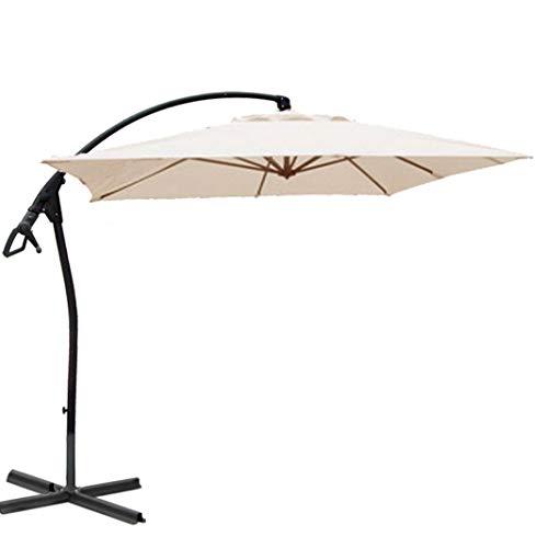 habeig WASSERDICHT Ampelschirm 250x250cm quadratisch durch PVC-Beschichtung Schirm Sonnenschirm Marktschirm Gartenschirm (Beige #44)