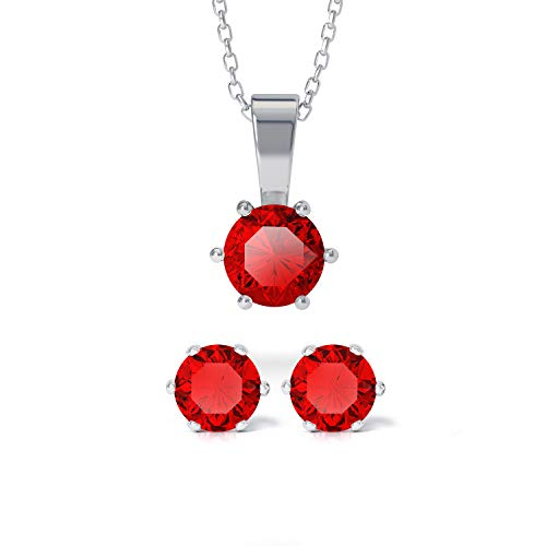 Ruby Earrings, Pendant and Necklace Sets Made with Swarovski Crystals, Stud Earrings, Earings Womens, July Birthstone Necklace, Mum Necklaces, 18ct Gold Plated