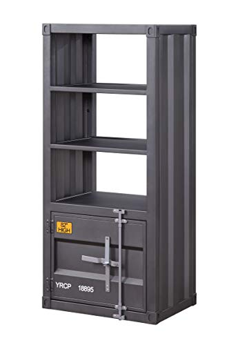 Benjara Industrial Style Metal Left Side Pier with 1 Compartment, Gray