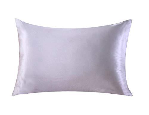 Funda de almohada de seda para el cuidado del pelo y de la cara para prevenir las arrugas, cremallera oculta, 1artículo, color blanco, seda sintética raso poliéster, Gris, 50*75