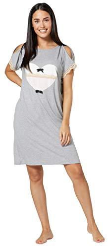 Chelsea Clark Mujer Camisón premamá para Lactancia Adecuado para el Parto (Mezcla Gris, M)
