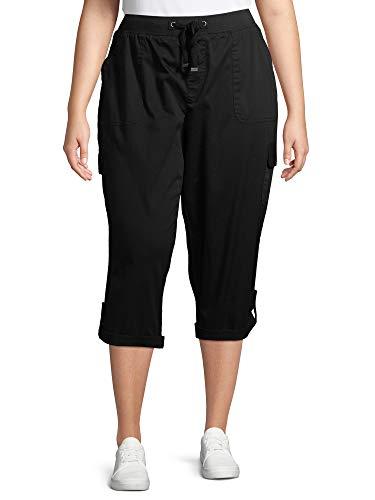 Women's Plus Size Cargo Capri (0X, Black)