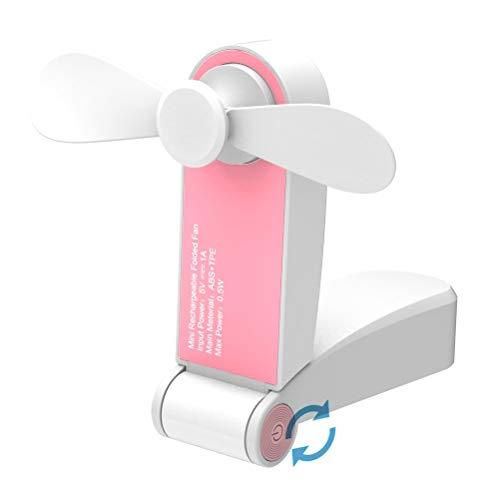 Jhua Draagbare mini-ventilator, opvouwbaar, kleine ventilator, USB-oplaadbaar of op batterijen, voor thuis, op reis, op de camping roze