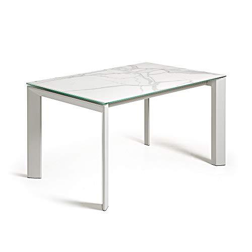 Kave Home - Mesa de comedor extensible Axis rectangular 140 (200) x 90 cm de porcelana Kalos Blanco con patas de acero en color blanco?