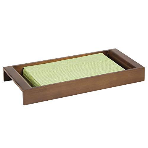 mDesign Organizador de cosméticos – Elegante bandeja decorativa de bambú para organizar maquillaje, lociones y accesorios – Práctica bandeja organizadora de baño para la zona del lavabo – marrón