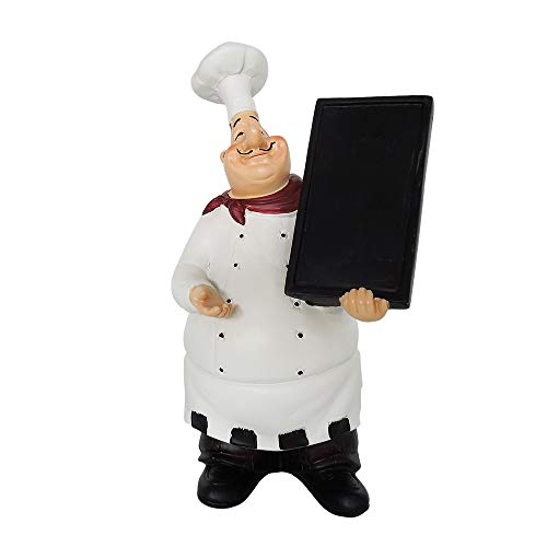 Artgenius Italian Chef Figurines Kitchen,Decorative French Chef Statue for Kitchen Restaurant Hall (Holding Board)