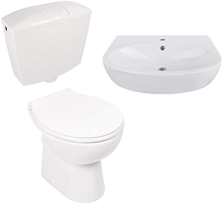 Calmwaters - Komplettset aus spülrandlosem Stand-WC mit waagerechtem Abgang, WC-Sitz, Spülkasten & Waschtisch - 99000200