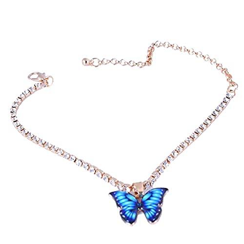 Tobillera de moda y elegante para mujer, diseño de mariposa con diamantes de imitación con incrustaciones de cadena..