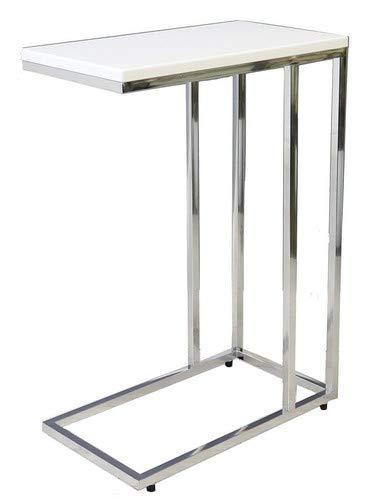 ASPECT Bellini Sofa Side End Laptop Table, Wood White, 46 x 25.5 x 63.5 cm