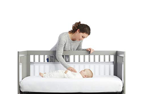 Hangarone Baby Cot Bumper Wrap,Cotton Breathable Crib Bumper Pads Washable Padded Crib Liner Set for Baby Boys Girls Safe Bumper Guards Crib.133x28x2.5cm