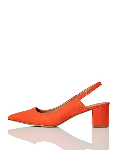 FIND Block Heel Slingback Pumps, Rot (Burnt Orange), 40 EU