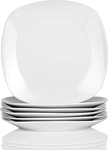 "MALACASA, Serie Elisa, 6 teilig Set 7,5"" Porzellan Dessertteller 19x19x2cm Kuchenteller Tafelservice für 6 Personen"