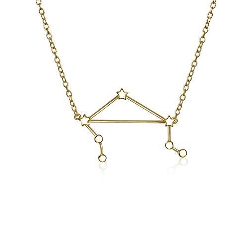 Astro Astrologie Sternzeichen Waage Sternbild Sterne Halskette Für Damen Jugendlich 14 Kt Vergoldet Sterling Silber