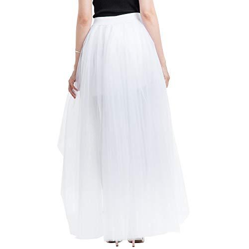 Julhold Damen Einfarbig Smoking Tutu Rock Party Petticoat Elastische Taille Tüllröcke(Weiß,One Size)
