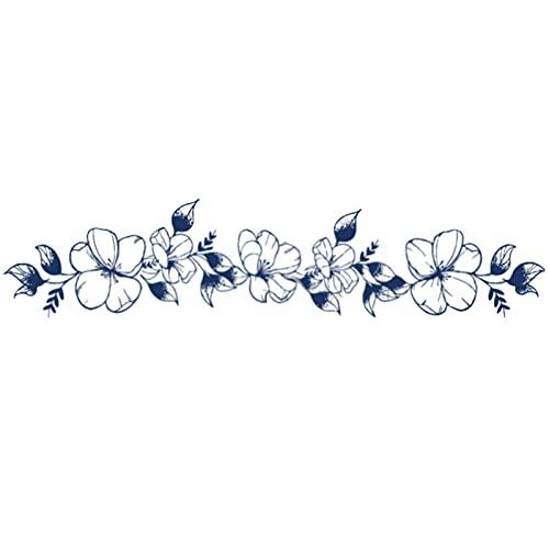 YLGG Etiquetas engomadas temporales del Tatuaje de la Moda de la Pulsera de la Flor de Cerezo, adecuadas para Las Mujeres, extraíbles
