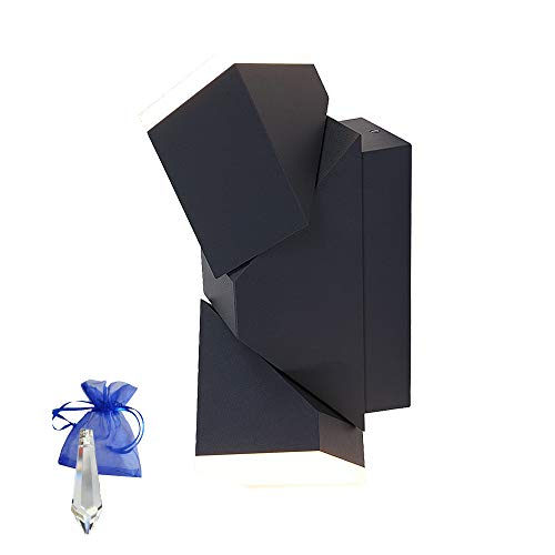 LED buitenlamp zwart metaal moderne wandlamp draaibaar IP54 1507ZW kristal slinger Give Away