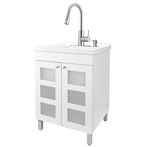 White Tehila Utility Sink Vanity, Stainless Steel High-Arc Pull-Down Sprayer Faucet, Soap Dispenser and Spacious Cabinet by JS Jackson Supplies for Garage, Basement, Shop and Laundry Room