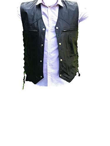 Mens Black Leather Motorcycle Biker Side Lace VEST Style Genuine Leather Vest (XXXL)