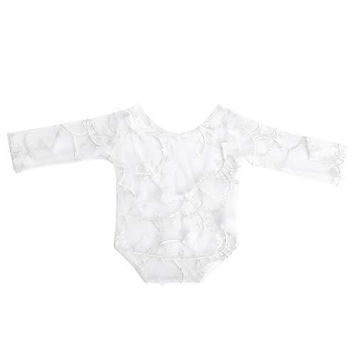 Accesorios de Fotografía para Niños, Dacron Baby Photo Props Bordado Petal Baby-suit Ropa de Encaje Decorativa Body Traje Traje Recién Nacido(White)