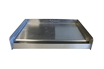 """Sizzle-Q SQ180 100% Stainless Steel Universal Griddle with Even Heating Cross Bracing for Charcoal/Gas Grills, Camping, Tailgating, and Parties (18""""x13""""x3"""")"""