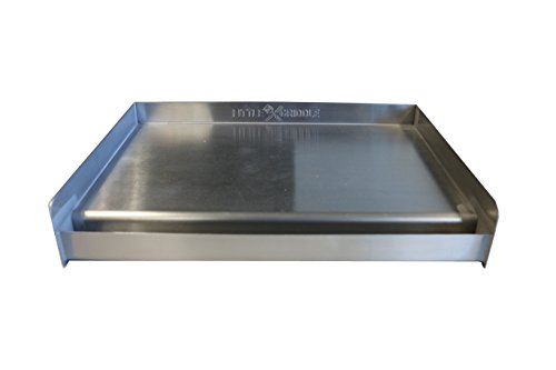 Sizzle-Q SQ180 100% Stainless Steel Universal Griddle with Even Heating Cross Bracing for Charcoal/Gas Grills, Camping, Tailgating, and Parties (18'x13'x3')