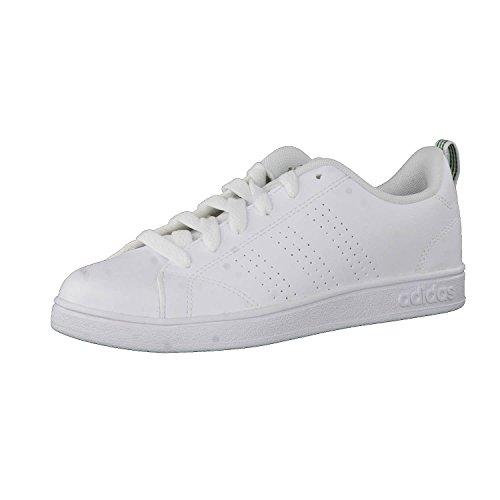 adidas Vs Advantage Clean Scarpe da fitness Unisex - Bambini, Bianco (Footwear White/Green), 35 EU (2.5 UK)