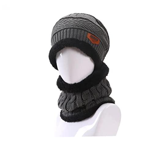 1 Set Men's Winter Warm Knit Hat Kit Skideckel mit Fleece Neckwärmer Kreisschleifschal für Reiten und tägliche Tragen - Grau