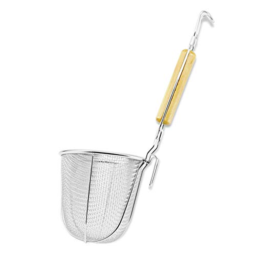 Large Round Wok Strainer Colander Fry Basket - Stainless Steel Wooden Handle for Heat Resistance 5' X 5' L スプーン Udon Pasta Noodle Ramen Rinsing Straining Boiling Frying