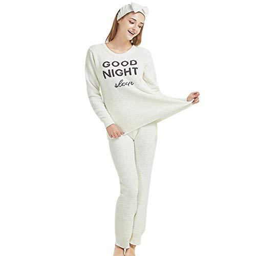 Minions Boutique - Pijama para mujer, manga larga, cuello redondo, suelto, suave, conjunto de ropa para el hogar, Blanco, talla única