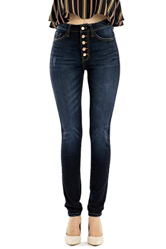Kan Can Jeans Leary-Lexy High-Rise Exposed Button Dark Wash Skinny Jeans KC7113SD (25)